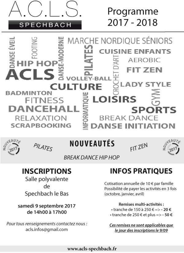 programme de l'ACLS 2017 - 2018, page 1